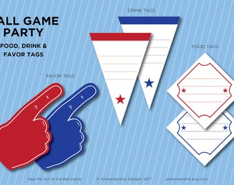 Take Me Out to the Ball Game, Baseball Printable Party, Ball Park Baseball Theme Party, Personalized Favor Food & Drink Tags