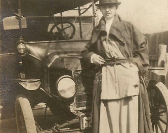 "Vintage Photo ""Vera's Pride & Joy"" Antique Car Woman Dressed In Driving Clothes 1920's Found Vernacular Photo"