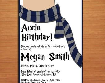 Harry Potter Hogwarts Inspired Party Customized Printable Birthday Party Invitation Cards DIY