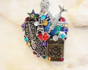 Love To Travel Heart Pendant