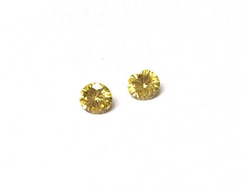 Cubic Zirconia Round Loose Stones. Citrine. Cut Stones. Faceted CZ. Sweet 16. Bridal. Spring. 6mm. One Pair.