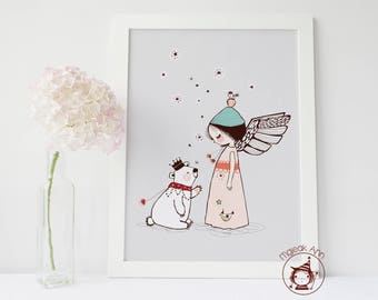 Moment Magique - Poster - Angel Girl and Bear - Nursery Decor Wall art- baby print - pink and grey whimsical magical baby girl illustration