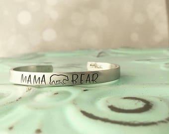 Mama Bear Cuff Bracelet - Hand Stamped Cuff Bracelet - Mama Bear Bracelet - Mom Bracelet - Mom Jewelry - Gift for Mom - Bear Jewelry