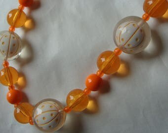 ORANGE and CLEAR beaded BAUBLE necklace mod 1960's 60's