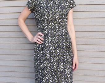 GEO ROSE 1960's sheath DRESS 60's olive black 28 waist (A5)