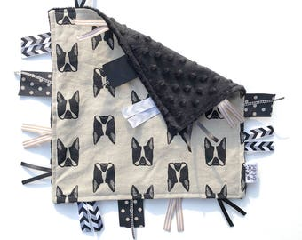 Puppy Love - Black Tan - Baby Boy Toy + tag lovey sensory security crib stroller blanket linen cotton minky - modern puppies