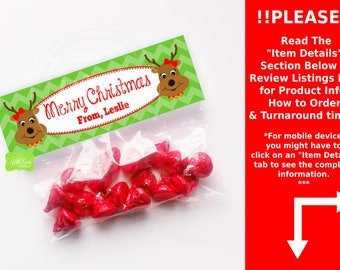 Personalized Reindeer Treat Bag Toppers - Reindeer Bag Topper - Christmas Treat Bag Toppers - EMAILED or SHIPPED Toppers