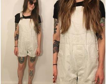 Vintage 90s Khaki Beige Overalls Shorts Folk Size Small