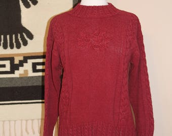 Red Silk Blend Knit Sweater 90s