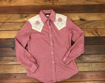 Vintage Women's DEE CEE BRAND Western Pearl Snap Sawtooth Plaid Shirt Size 7/8