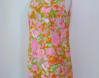 60's Psychedelic Petunia Pansy Neon Pink Mini Dress Mod Sleeveless Cotton Shift Sheath Sundress  L XL