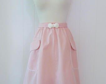 80's Pink Seashell Skirt Oversize Pockets Shell Buckle Belt Striped Preppy Plus Size L XL