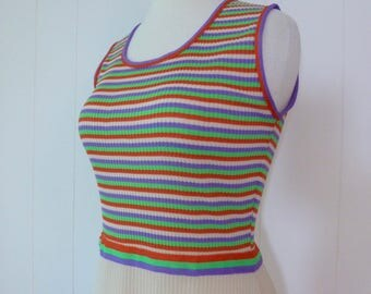 70's Sporty Mod Maxi Dress Ribbed Candy Stripe Colorful Sleeveless Hostess Gown Long Dress M