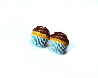 Chocolate Icing Cupcake Earrings