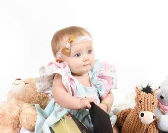 Gold Baby Bow Headband Girl Easter Headband Baby Spring Headband, Lace Bow Headband Leather Bow Headband for Baby Toddler Headband Newborn