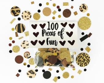 animal print confetti, animal print, leopard print decorations, bachelorette party, leopard confetti, animal print party, leopard print