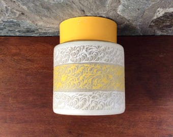 Mid-century ceiling lamp, flush mount ceiling light fixture; yellow and white etched glass; yellow plastic ceiling fixture