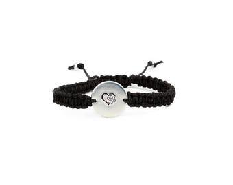 Paw Print Bracelet, Pet Memorial Jewelry, Hemp bracelet, Charm Bracelet, Pet Lover Bracelet, Heart Bracelet, Paw Bracelet, Animal Bracelet
