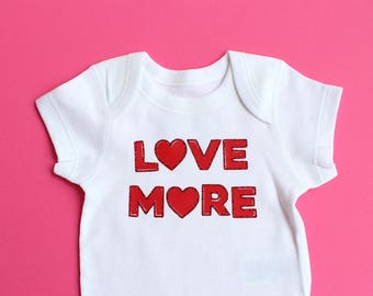 Red Glitter LOVE MORE Baby Bodysuit - Range of Sizes