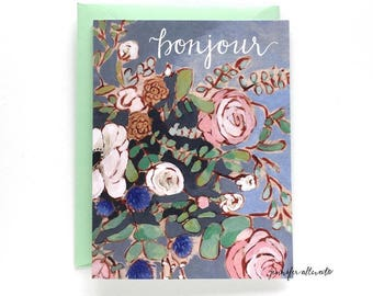 Bonjour greeting card hello floral card