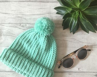 Mint green hat, knit accessories knitted hat, mermaid hat, mermaid hair, mint blue hat, knitted beanie hat, adult knitted hat chemo headwear