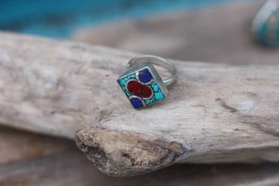 SQUARE MOSAIC RING - Adjustable - Handmade - Bespoke - Gemstone Ring - Mosaic - Gift - One size fits all - Turquoise - Moroccan - Tibetan