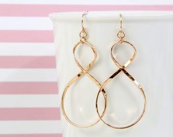 Rose Gold Infinity Earrings ,Rose Gold Earrings, Infinity Earrings,Bridesmaid Earrings-2012