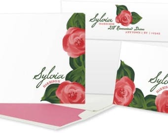 Floral Personalized Stationery: Set of 25 Personalized Blank Cards. Rose.  Pink Floral. Custom Colors. Gift Set.