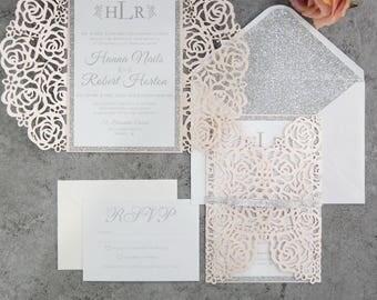 Invitation kit etsy diy invitation kit blush and silver glitter laser cut invites for wedding quince solutioingenieria Gallery