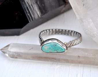 Sky People Collection | Turquoise x Brass x Sterling Silver | Turquoise Vintage Watch I