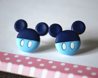 Mickey Mouse Earrings -- Mickey Mouse Studs, Navy Blue and Light Blue