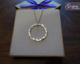 Silver Textured Circle Ring Pendant Necklace