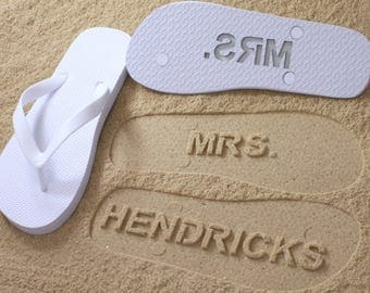 Custom Bride Flip Flops - Personalized Name Sandals for Wedding & Bridal Party *check size chart before ordering*