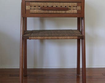 MidCentury Modern End Table or Side Table // 2 Faced Drawer–Choose Your Look // Woven Cane Shelf