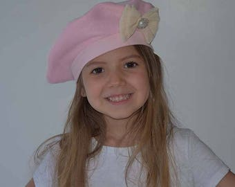 Girls Pink Beret CHOOSE COLOR Kids Pink Hat CreaBow Rhinestone Pearl Center Fleece French Beret Photo Prop Outer Wear Baby Hat Toddler Hat