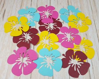 Hibiscus scrapbook flowers, Die cut flowers, Hawaiian flowers, Tropical flowers