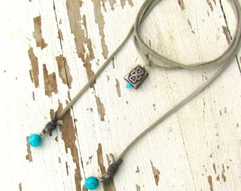 Cool Necklace, Leather with Turquoise, Hippie Chic, Rustic Boho Wrap, Hippy Gypsy Choker, Bridesmaid Gift, Western Jewelry for cowgirls