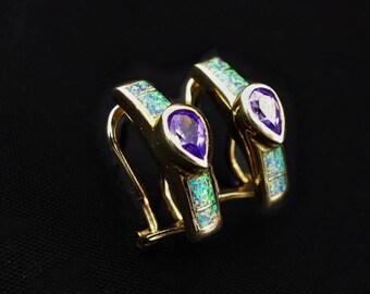 Vintage Amethyst Created Opal Vermeil Earrings, Vintage Earrings