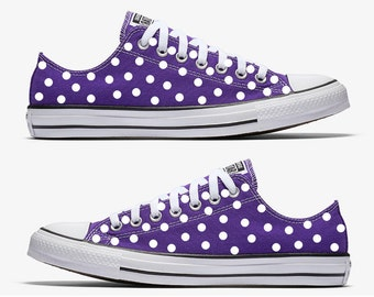 Purple Converse Hand Painted with White Polka Dots