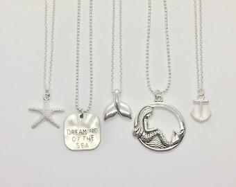 beach jewelry, mermaid necklace, nautical jewelry, mermaid jewelry, beachcomber charm necklace
