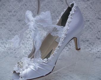 Brides White Satin Wedding Shoes Peep Toes Medium Heel,embellished pearls, crystals, lace, Mary Jane, Lace Up Tie Up Pump, Old Hollywood