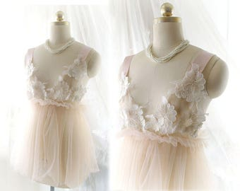 Romantic Fairy Kei Tunic Blush Champagne Lace Tulle Bridal Wedding Lingerie Dress Slip Sheer Dreamy Women's DDLG Clothing Daddys Girl