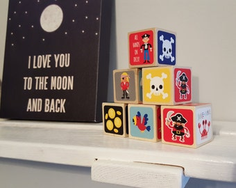Pirate wood blocks, Pirate baby shower, pirate nursery, nautical nursery blocks, number blocks