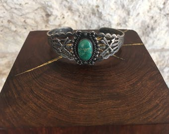 Turquoise Cuff Bracelet Southwestern Cuff Blue Green Turquoise and and Sterling Silver Etched Arrow Bracelet Southwestern Jewlery