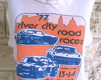 70's Cut Off T-shirt Auto Raching Austin T shirt Pink Distressed Texas Tshirt Small Vintage Tank Top Cut Off Sleeves River City Road Races