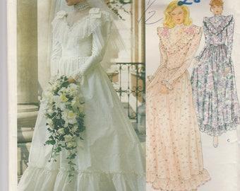 80s Designer Wedding Gown Pattern Vogue 2858 Size 6 Uncut