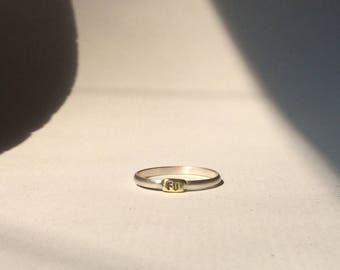 FU Ring / Size 8.5 / Brushed Silver and Brass Signet