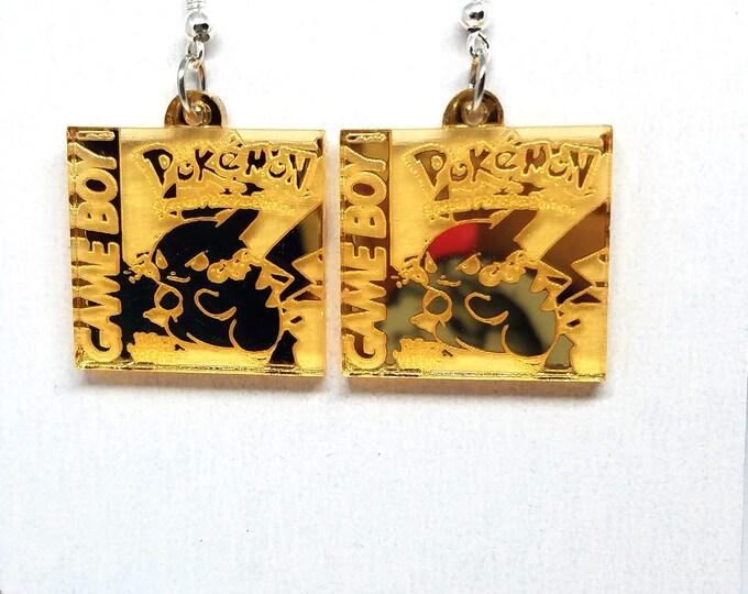 Pokemon Yellow Gold Mirrored Dangle Earrings | Laser Cut Jewelry | Hypoallergenic Hook Dangle Earrings | Acrylic Earrings