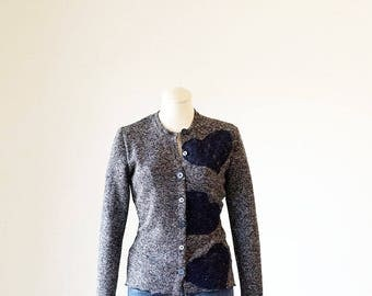 Hearts Cardigan / Tweed Inspired Cardigan/Handcrafted Cardigan/Business Casual Sweater/ Embellished Cardigan