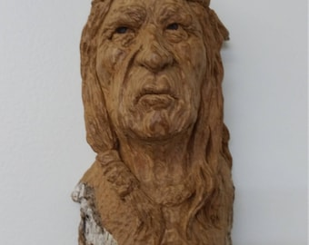 Native American Indian Woodcarving by Kathy Overcash - Cottonwood Bark